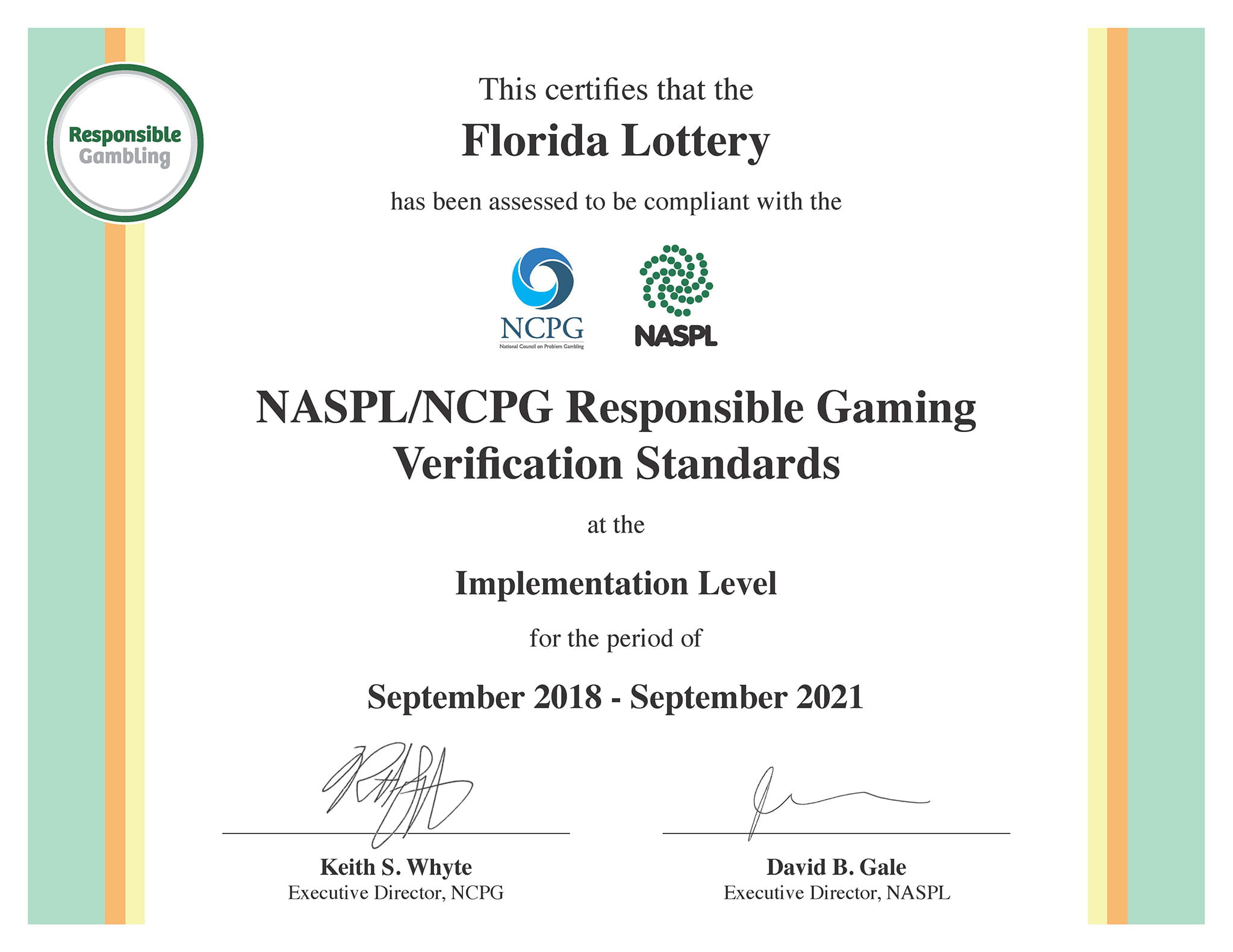 NASPL/NCPG Responsible Gaming Verification Standards Certificate