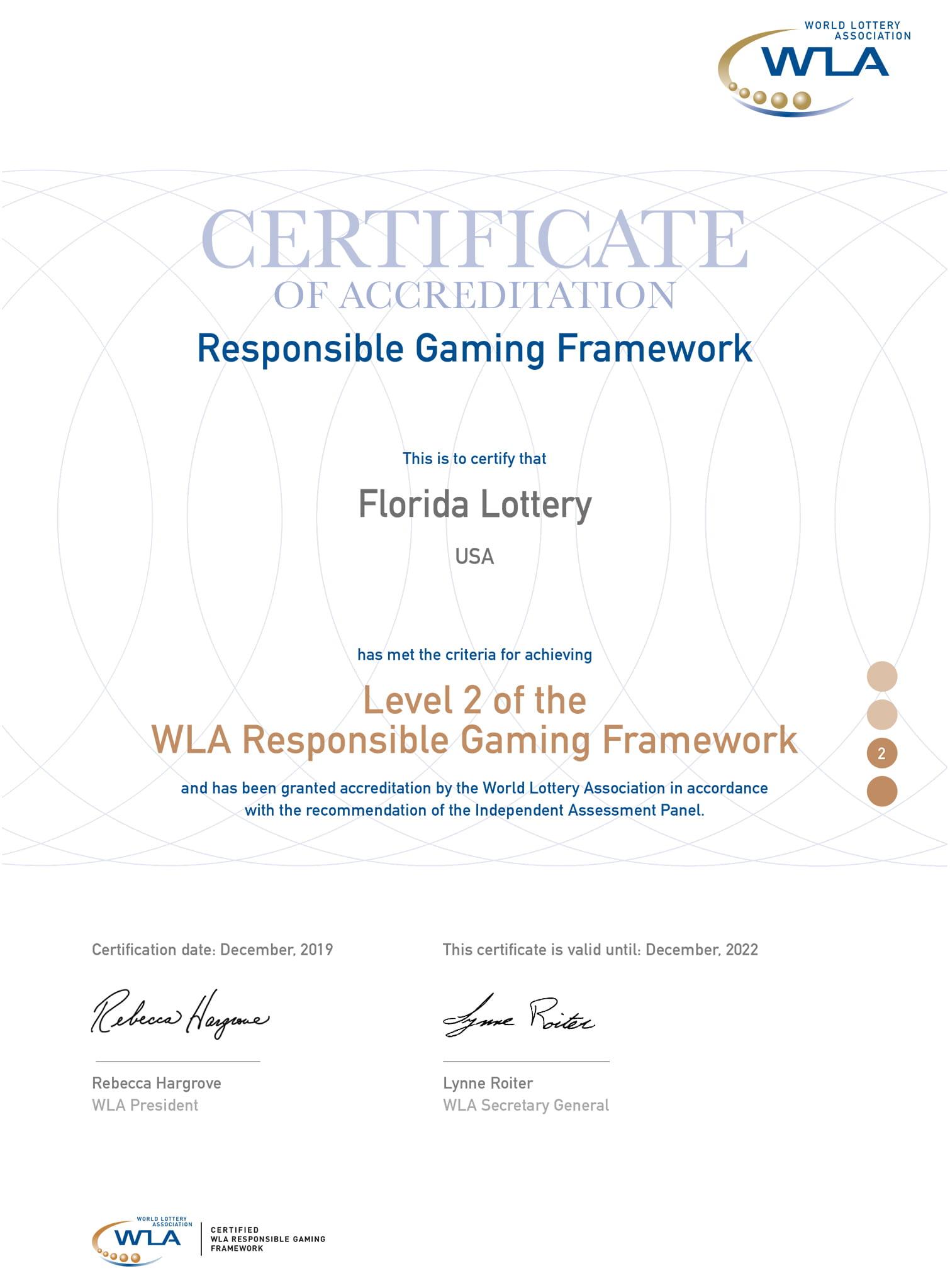 Certificado de Acreditación del Marco de Juego Responsable de la WLA